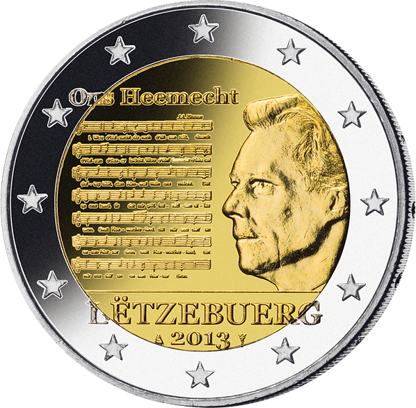 2 € Münze Luxemburg 2013 Nationalhymne