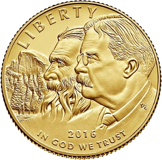 5USD Goldmünze USA 100 Jahre National Park Service 2016 PP
