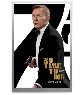 "Offizielles Filmplakat als Silber-Note ""James Bond - No Time To Die""!"