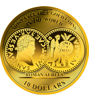 La monnaie 1/100 d'once or pur « Roman Aureus», grand diamètre: 45 mm !
