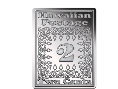 "Silberbriefmarke ""Hawaii Two Cents"" 1851"