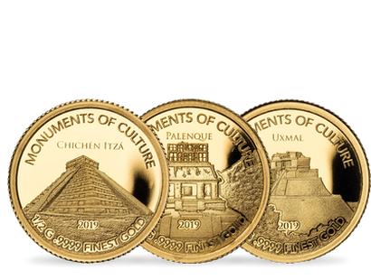 "Set de 3 monnaies en or pur "" Monuments du Mexique "" 2019"