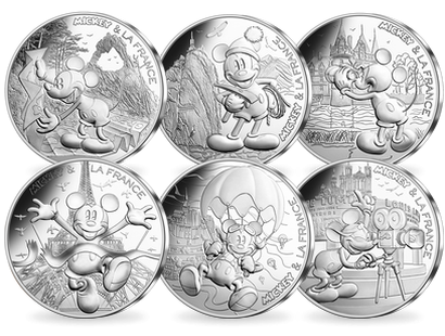 Set complet 10 x 10 Euros argent «Mickey et la France» 2018 vague 1