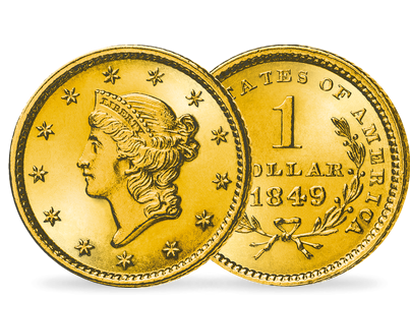 Monnaie de 1 Dollar en or massif «Liberty Head» Etats-Unis 1849