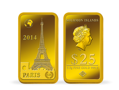 "La monnaie-lingot officielle ""Tour Eiffel"" 2,5g d'or pur !"