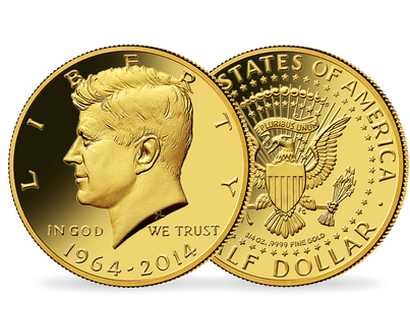 Monnaie Half-Dollar en or pur «Kennedy» USA 2014