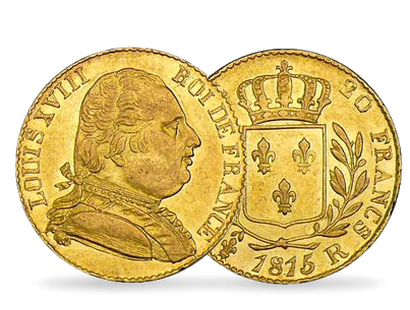 Monnaie de 20 Francs en or massif «Louis XVIII - Londres» 1815