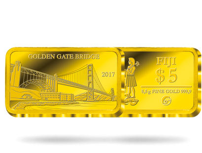 Monnaie lingot en or pur «San Francisco - Golden Gate Bridge» 2017