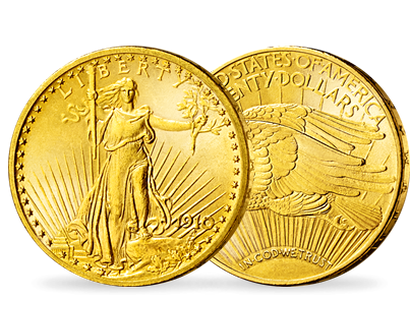 "Monnaie ancienne en or des Etats-Unis ""20 dollars - Walking Liberty"""