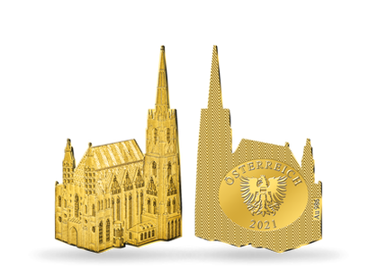 Weltneuheit: 1-Gramm-Goldausgabe in originaler Stephansdom-Form