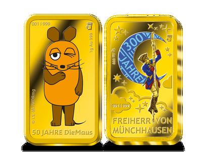 """Die ersten farbveredelten Gold-Ergänzungsbarren zu den offiziellen deutschen 20-Euro-Farbmünzen """"50 Jahre 'Die Sendung mit der Maus'"""" 2021, """"300. Geburtstag Freiherr von Münchhausen"""" 2020 und """"100 Jahre Weimarer Verfassung"""" 2019"""