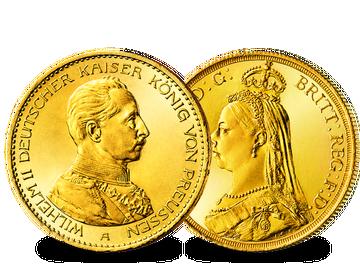 Kaiser Wilhelm II. und Königin Victoria in einem einzigartigen Gold-Set vereint!