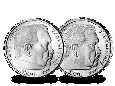 Die letzten 5-Reichsmark-Münzen mit Paul von Hindenburg