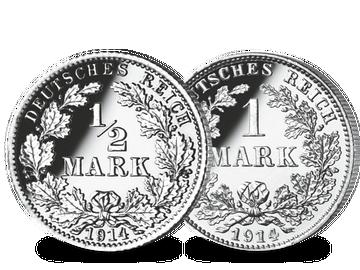 Deutsches Kaiserreich - 1/2 und 1 Mark im Set
