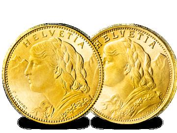 "Schweiz 10 Franken 1911-1922 und 20 Franken 1897-1949 ""Vreneli"""
