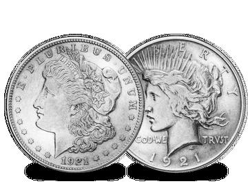 2er-Set USA Morgan und Peace Dollar 1921