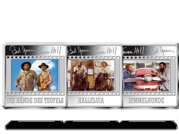 """Das 3er-Kult-Set """"Hill & Spencer"""" – 1-Unzen-Silberprägungen im spektakulären Dia-Rahmen-Format!"""