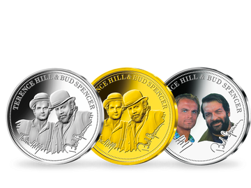 """Das exklusive 3er-Fan-Set """"Terence Hill & Bud Spencer"""" in Silber und Gold!"""