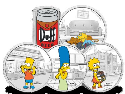Die Gedenkmünzen 'The Simpsons™' aus Tuvalu. TM and © 2019 Fox.