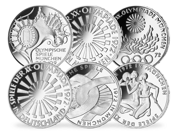 Deutsche 10-DM-Silber-Gedenkmünzen 1972 komplett