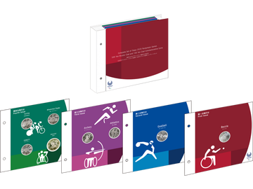 8er-Komplett-Set offizieller Gedenkmünzen Japans zu den Paralympischen Spielen Tokyo 2020