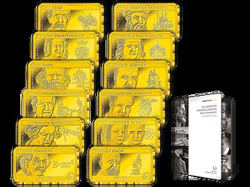 Premium-Goldbarren-Set zu Ehren 12 großer Persönlichkeiten