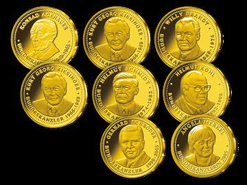Gold-Gedenkausgaben als Set zu Ehren der deutschen Bundeskanzler