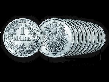 9er-Set Prägestätten-Komplettsatz Deutsches Reich 1 Mark 1875