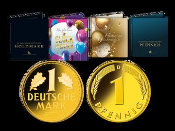 Jetzt verschenken: Neuprägung der Goldmark oder des Glückspfennigs - Folder selbst wählbar
