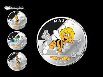 "45 Jahre Biene Maja – Die farbveredelte Silberprägung ""Maja"" mit passendem 3D-Magneten!"