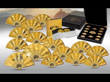 China Lunar Edition III 2021 - Vergoldete Kunstwerke in Fächerform