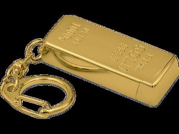 Feuer und Flamme für Gold! Feuerzeug in Goldbarren-Optik