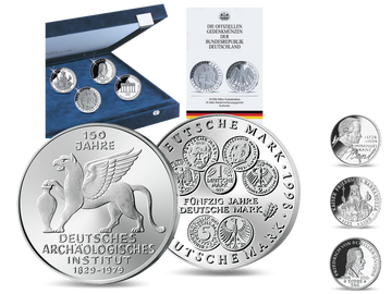 2 besondere Ausgaben zum Start in die Sammlung der deutschen 5- und 10-DM-Gedenkmünzen in Polierte Platte