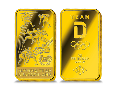 """Der größte offizielle Feingold-Gedenkbarren zu den Olympischen Spielen """"Antiker Fünfkampf"""""""
