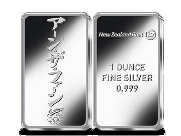 Neuseeland – offizieller 1-Unzen-Silber-Gedenkbarren Olympische Spiele Tokyo 2020