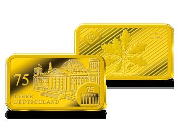 """Die Krönung Ihrer Sammlung: der Gedenkbarren """"75 Jahre Deutschland"""" aus 5 Gramm reinstem Gold!"""