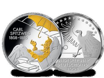 """Die 10-Euro-Münze """"200. Geburtstag Carl Spitzweg"""" teilvergoldet!"""