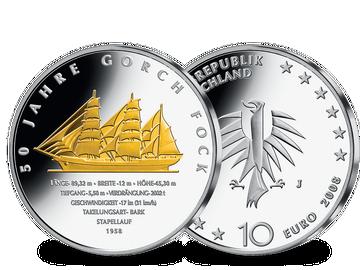 """Die teilvergoldete 10-Euro-Silberausgabe """"50 Jahre Gorch Fock"""" 2008!"""