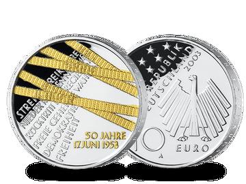 """Die 10-Euro-Münze """"50 Jahre Volksaufstand"""" mit Feingold-Veredelung!"""