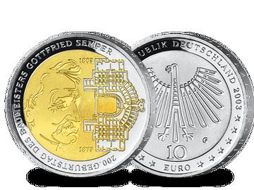 """10-Euro-Ausgabe """"200. Geburtstag Gottfried Semper"""" von 2003 – teilvergoldet!"""