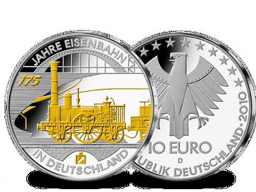 """Die 10-Euro-Ausgabe """"175 Jahre Eisenbahn"""" von 2010 – teilvergoldet!"""