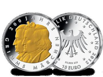 """Die teilvergoldete 10-Euro-Gedenkausgabe """"Grimms Märchen"""" von 2012!"""