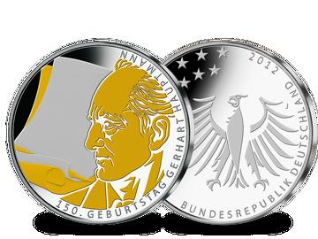 """10-Euro-Münze """"150. Geburtstag Gerhart Hauptmann"""" mit Feingold!"""