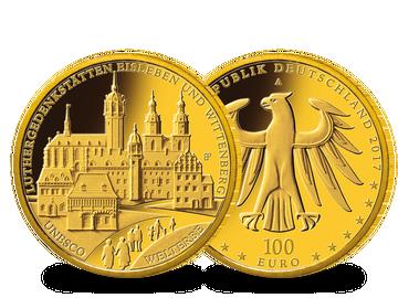 Bundesrepublik Deutschland 2017 – 100-Euro-Gold-Gedenkmünze: UNESCO Welterbe Luthergedenkstätten Eisleben und Wittenberg