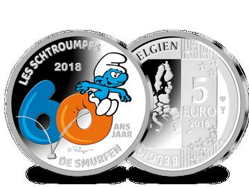 """Belgien 5 €-Münze """"60 Jahre 'Die Schlümpfe'"""" - mit Farbveredelung"""