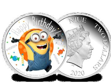 """Die offizielle farbveredelte 1-Unzen-Feinsilber-Gedenkmünze """"Minions – Happy Birthday!""""!"""