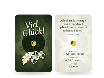 """Ein glänzendes Geschenk: der """"Glückspfennig"""" aus echtem Gold (585/1000)!"""