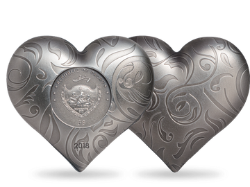 """Sammlerstück und Liebeserklärung in einem: die offizielle 1-Unzen-Silbermünze """"Silberherz""""!"""