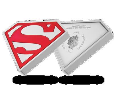 """Die offizielle 1-Unzen-Silbermünze """"SUPERMAN™ – Shield"""" mit Emaille-Veredelung"""