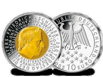 """10-Euro-Münze """"200. Todestag Friedrich Schiller"""" mit Feingold-Veredelung!"""